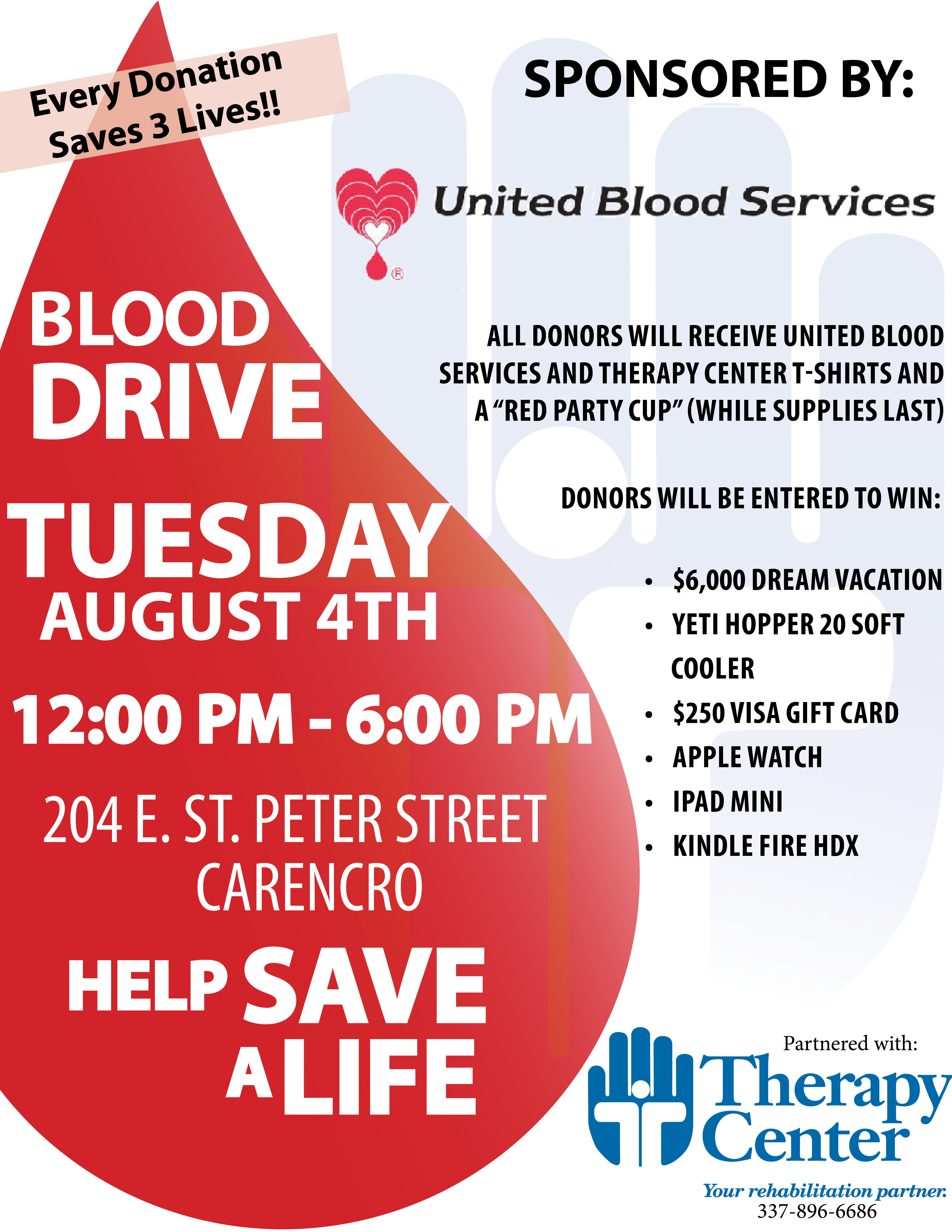 Carencro Blood drive flyer